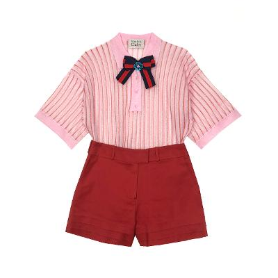ribbon detail top pink & short pants red